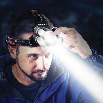 T6+4 XPE 2400LM Fixed Focus Searchlight USB Charging Outdoor 5 LED Headlamp