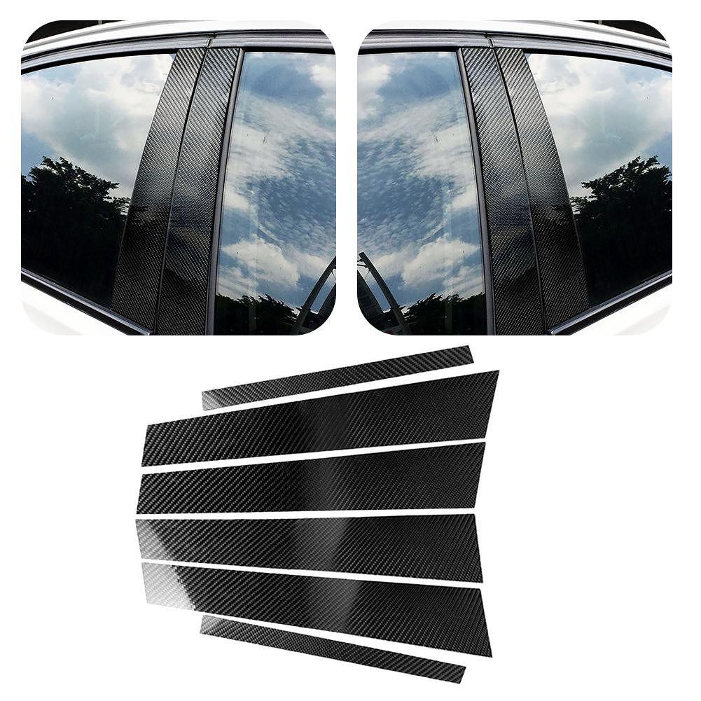 Carbon Fiber Car Window B-pillars Stickers Trim for 3 Series E90 2005-2012