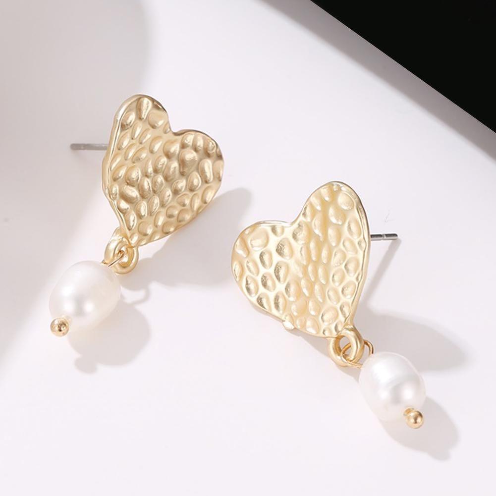 Love Heart Pearls Dangle Ear Stud Women Elegant Sweet Drop Earrings Jewelry