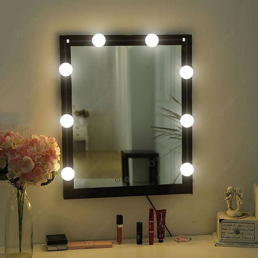 10pcs Led Makeup Mirror Light Bulb Kit Hollywood Vanity Dressing Table Lamp
