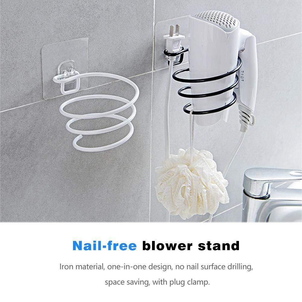Iron Wall Mounted Hair Dryer Rack Bathroom Wall Holder Organizer (Black)
