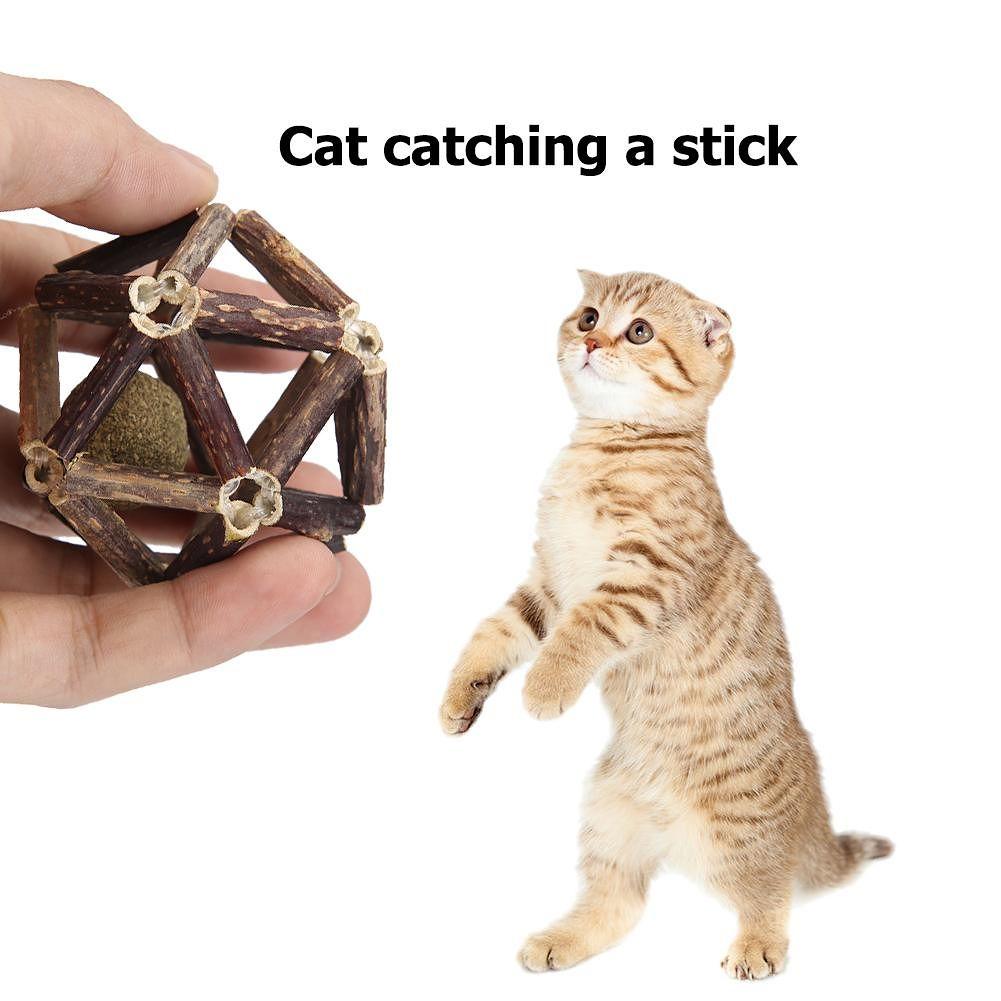Pure Natural Catnip Pet Cat Ball Toy Cleaning Teeth Molar Cat Snacks Sticks