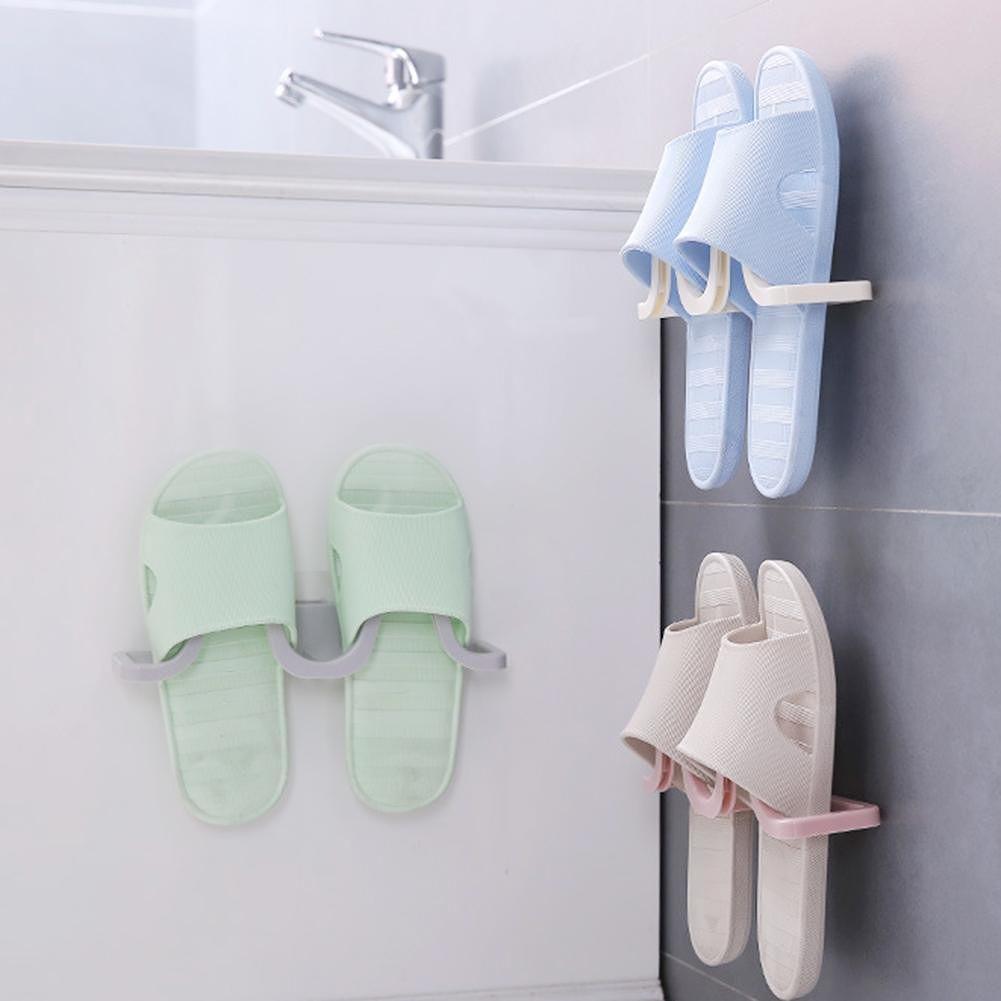 Bathroom Slippers Storage Organizer Wall Hanging Shoes Storage Rack (Beige)