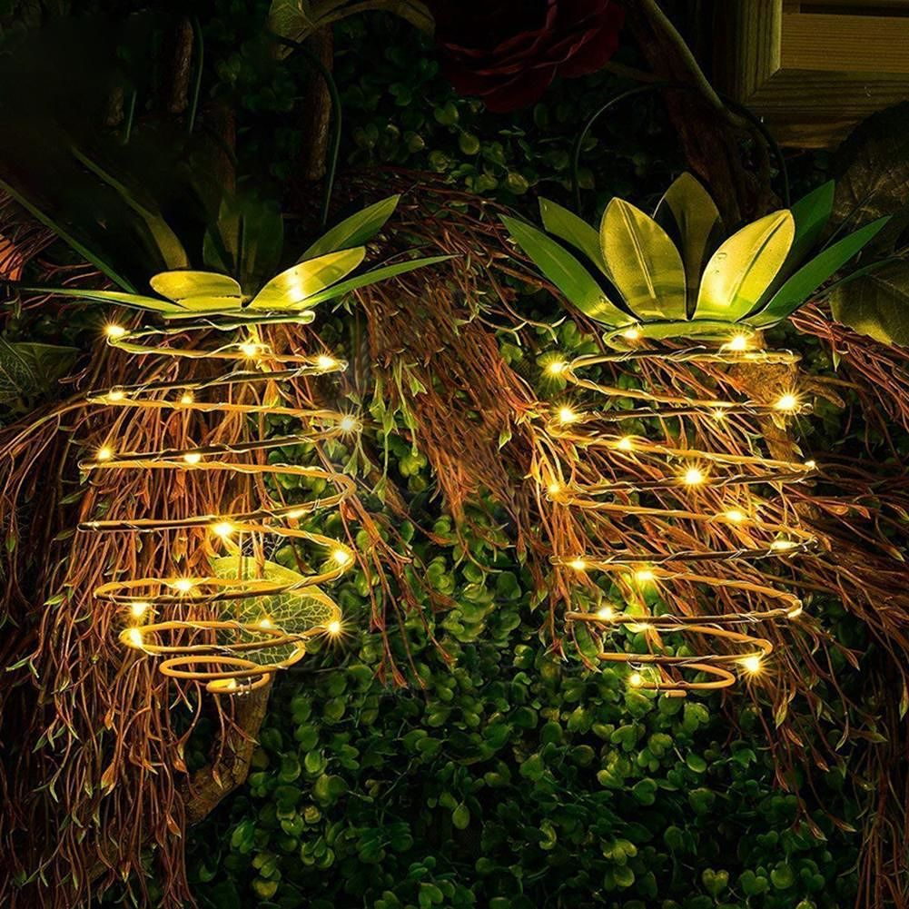 30LED Solar Pineapple Hanging String Light Waterproof Copper Wire Lamp