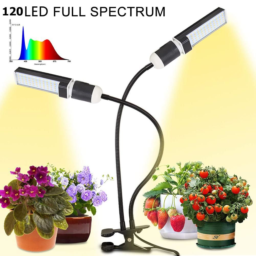 50W 120LED Dual Head Growth Light for Indoor Vegetables Seedlings Plants