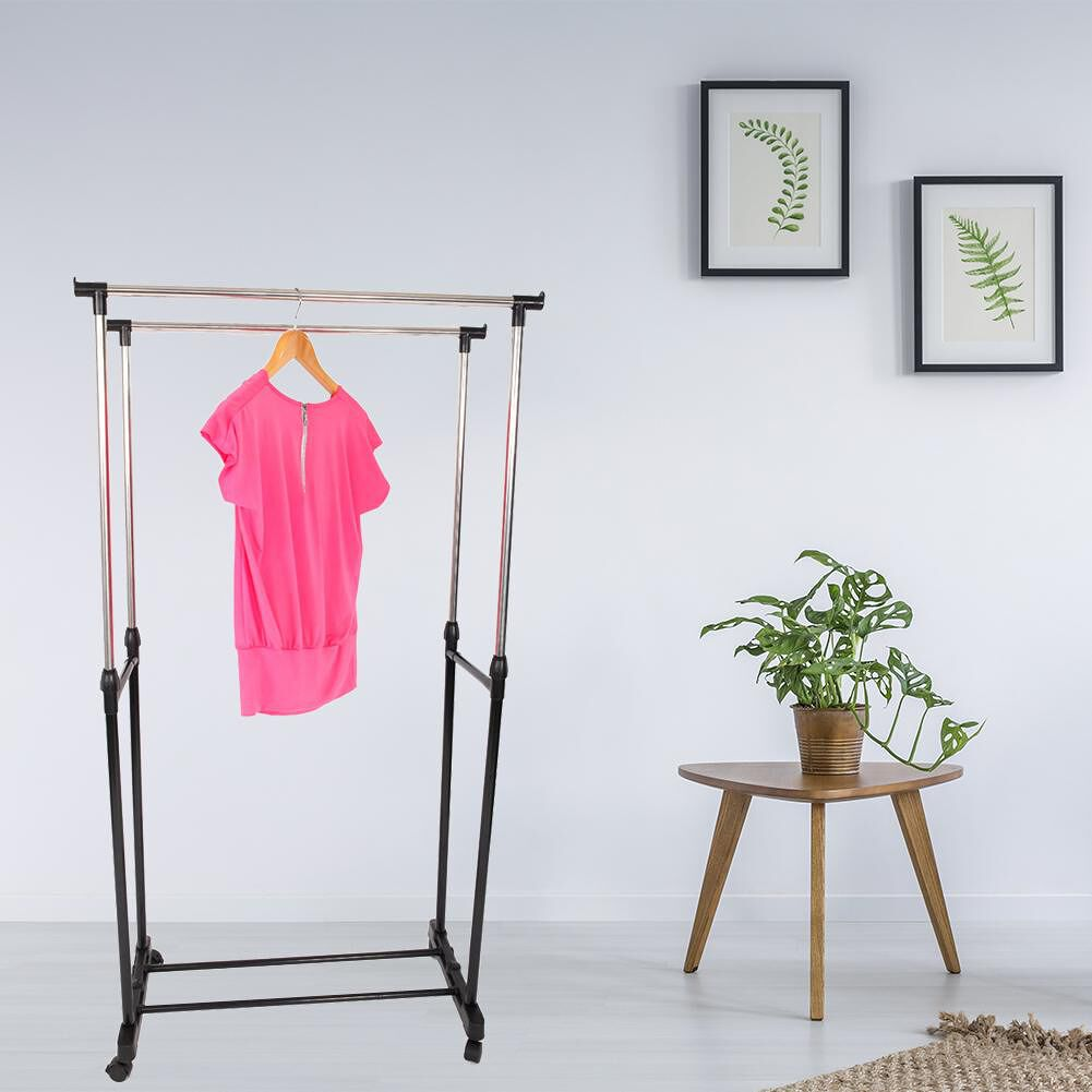 Dual-Bar Vertical Horizontal Stretching Stand Clothes Rack With Shoe Shelf