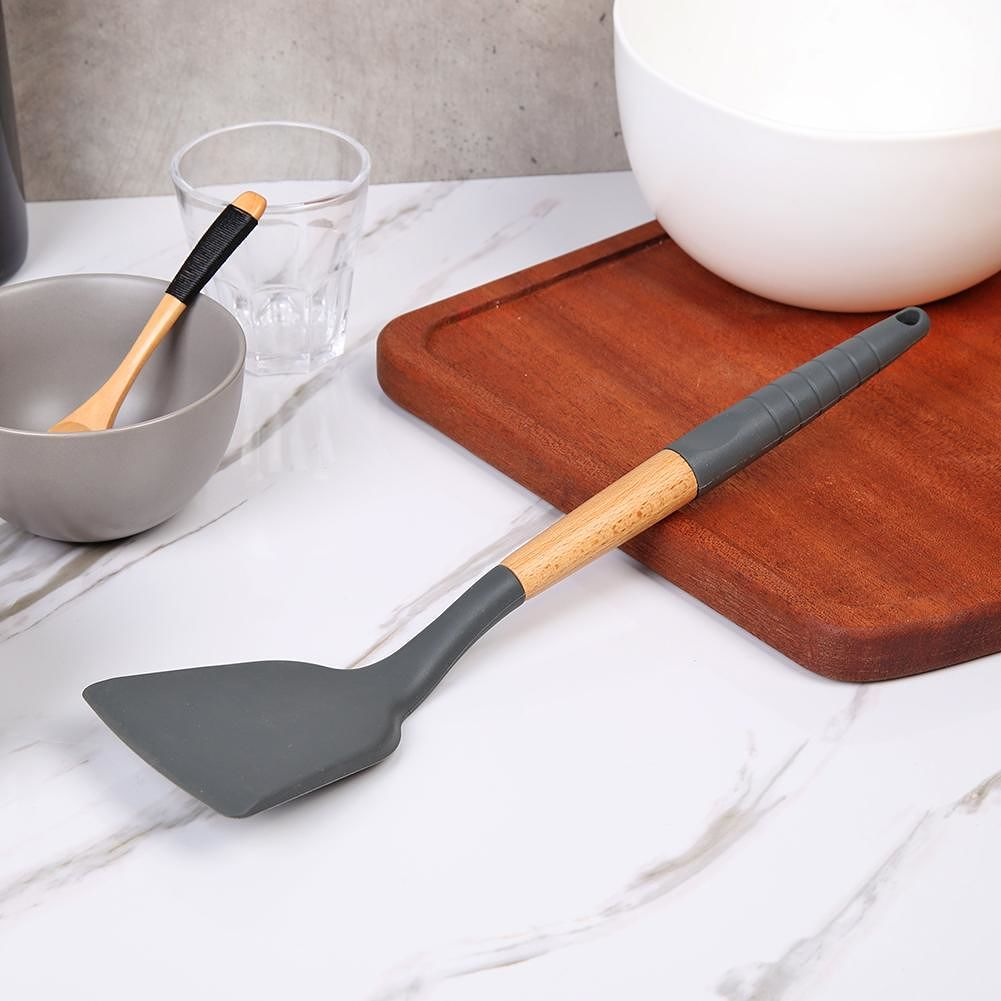Silicone Kitchenware Non-slip Kitchen Cookware with Beech Handle (Spatula)