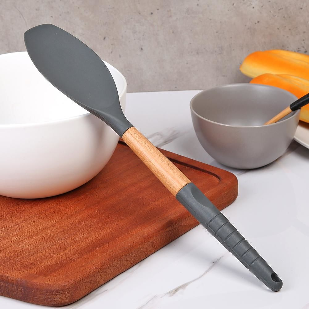 Silicone Kitchenware Non-Stick Kitchen Cookware w/Beech Handle (Rice Spoon)