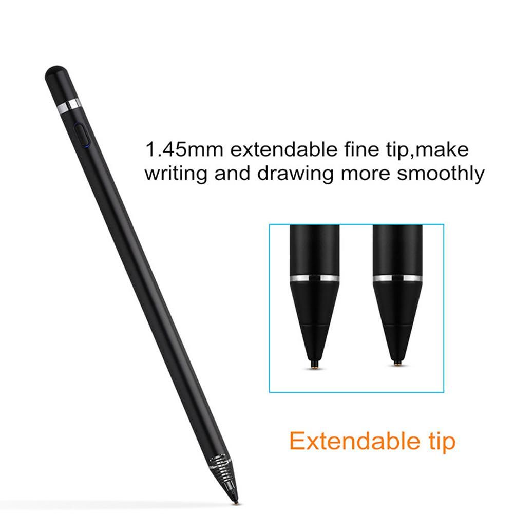 2 in 1 Stylus Touch Pen Capacitive Tablet Stylus Pen Drawing Pens (Black)