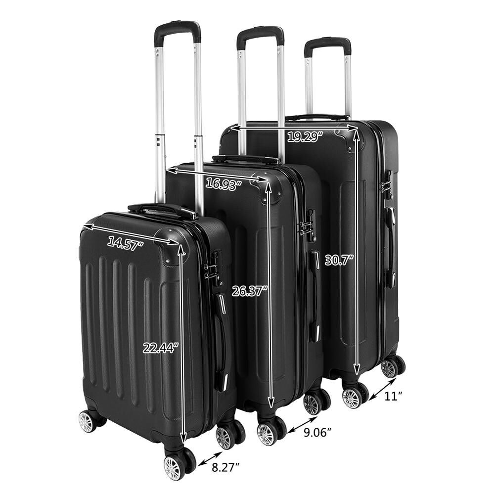 Black 3pcs 20/24/28 Inch Trolley Case Set Luggage Travel Rolling Suitcase