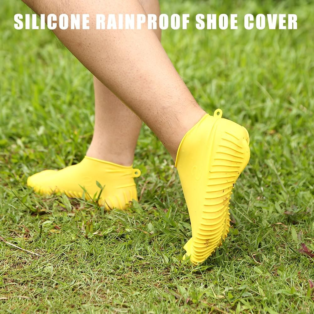 Silicone Waterproof Shoes Cover Reusable Non-slip Rain Boots (L Yellow)