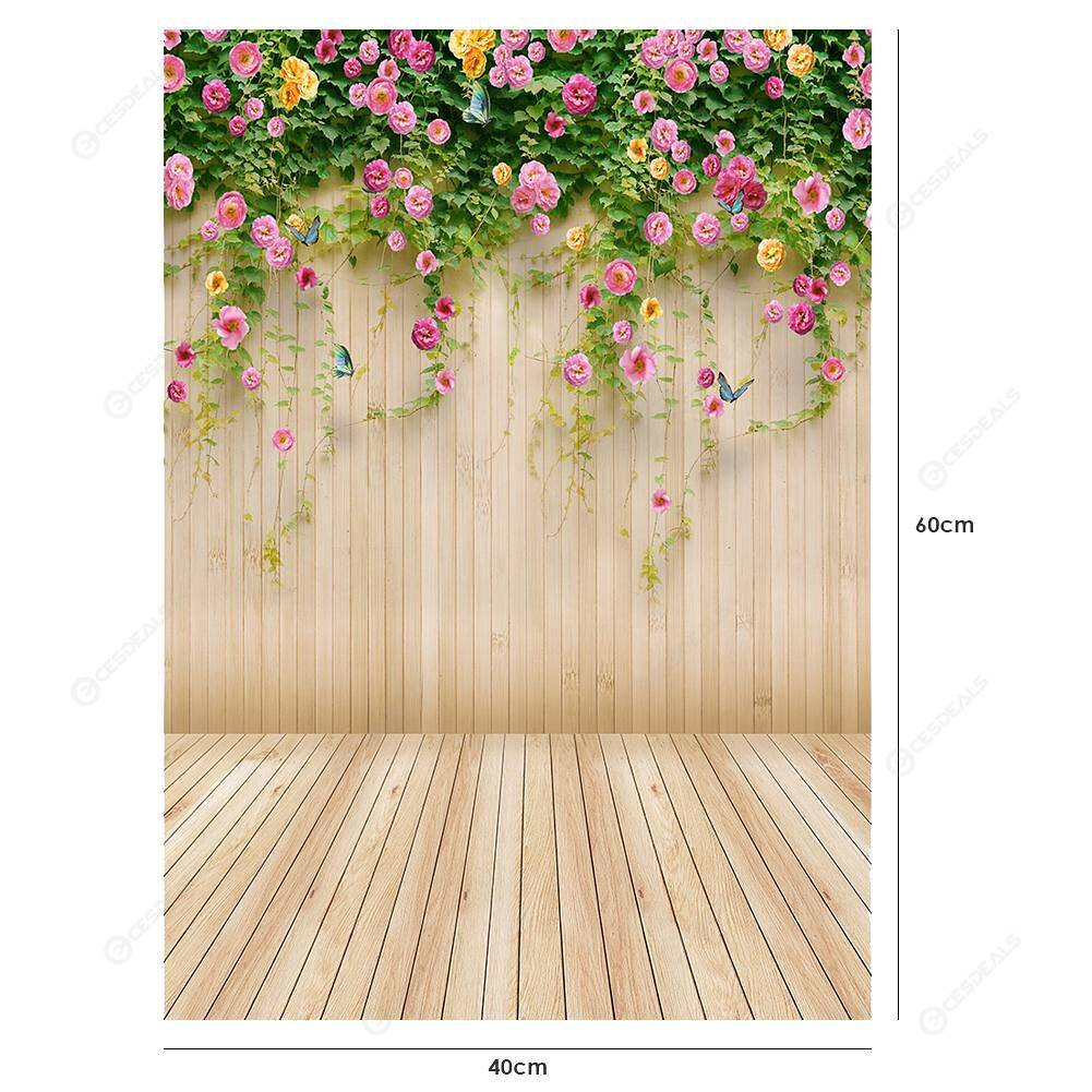 Wooden Planks Flower Photography Background Cloth Backdrop Decor (0.4X0.6m)