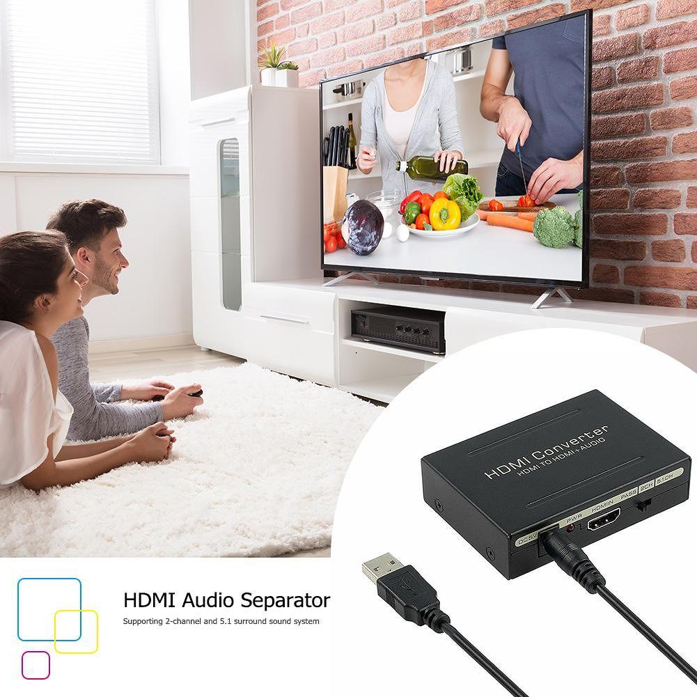HDMI to HDMI Audio Extractor Converter Splitter SPDIF+RCA L/R (EU Plug)