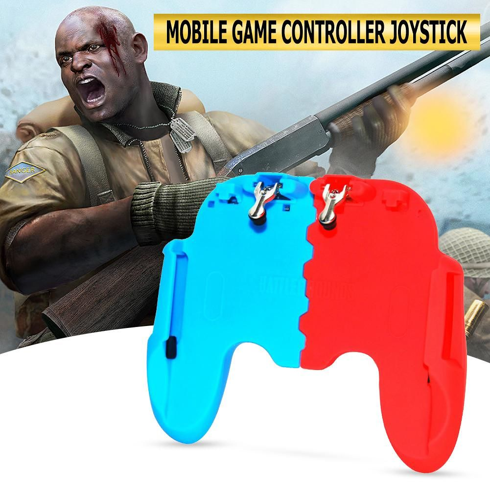 H6 Mobile Controller Joystick Trigger Gamepad Joystick for PUBG (Red+Blue)