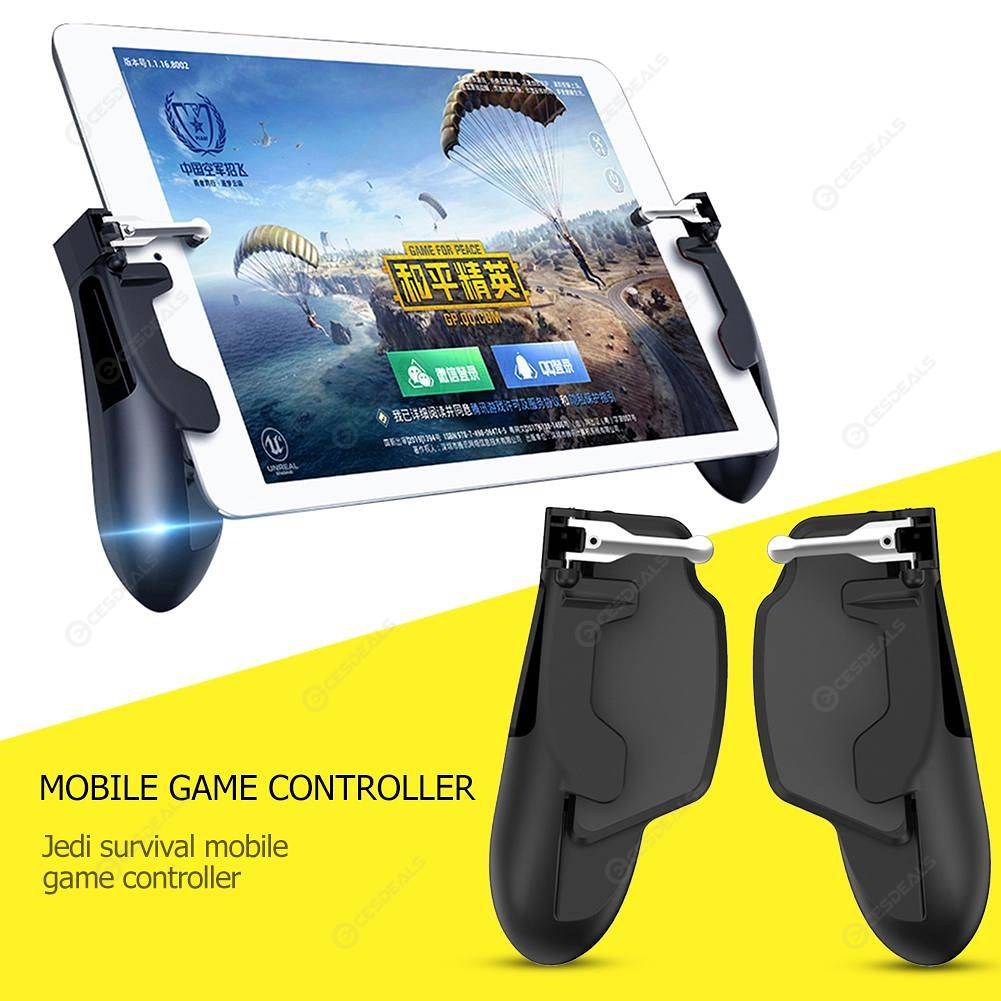 2pcs H7 Tablet Controller Joystick Trigger Gamepad Handle for PUBG (Black)