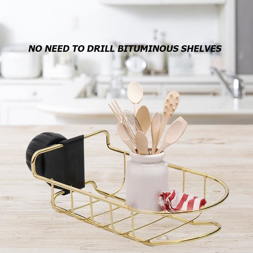 Stainless Steel Faucet Hanging Shelf Kitchen Bathroom Storage Drain Racks