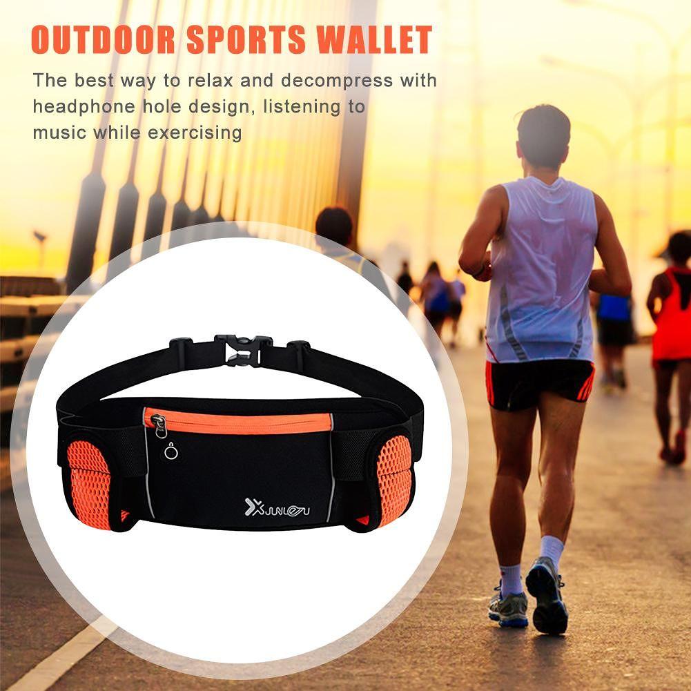 Running Bag Waist 2 Water Bottles Outdoor Hiking Fitness Belt Pack (Orange)