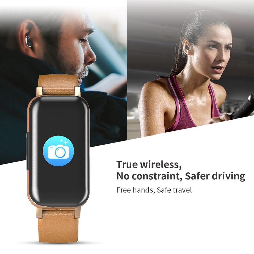 T89 TWS Binaural Bluetooth Headphone Heart Rate Monitor Wristband (Gold)