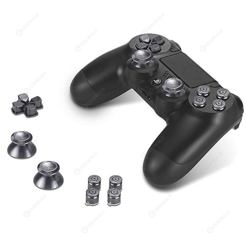 Thumb Stick Bullet Cap Buttons Set Kits for PS4 Xbox One Game Grips (Black)
