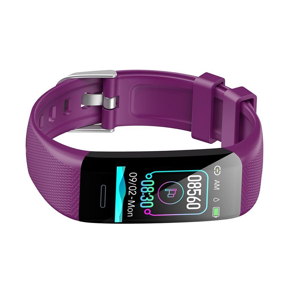 C20 Smart Bracelet Step Counter Heart Rate Blood Pressure Monitor (Purple)
