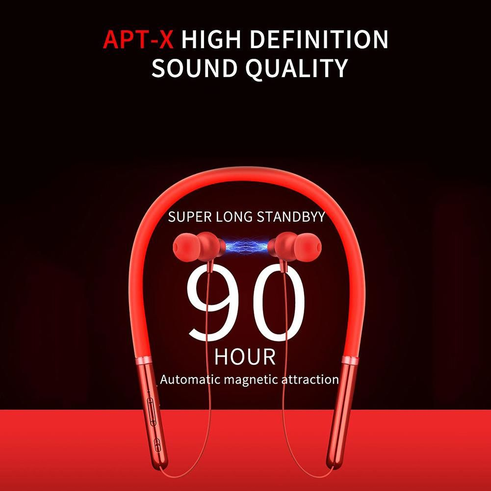 Q30  Bluetooth 5.0 Stereo Earphones Low-power Neck-hanging Earset (Red)