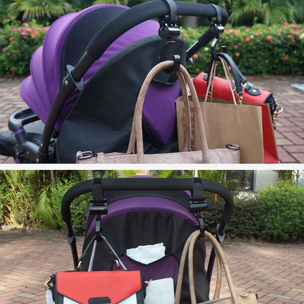 1 Pair Baby Stroller Accessories Hook Multifunction Black Plastic Non-Toxic