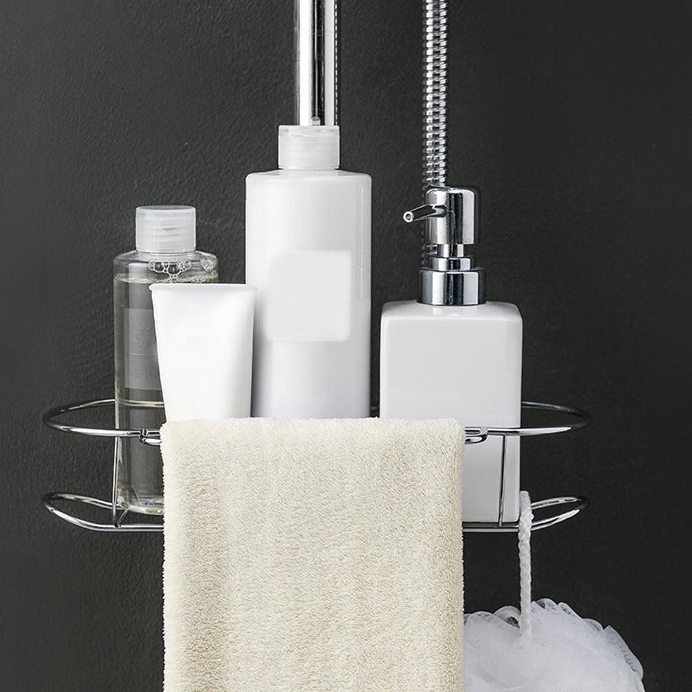 Stainless Steel Faucet Drain Rack Bathroom Kitchen Hanging Shelf (Silver)
