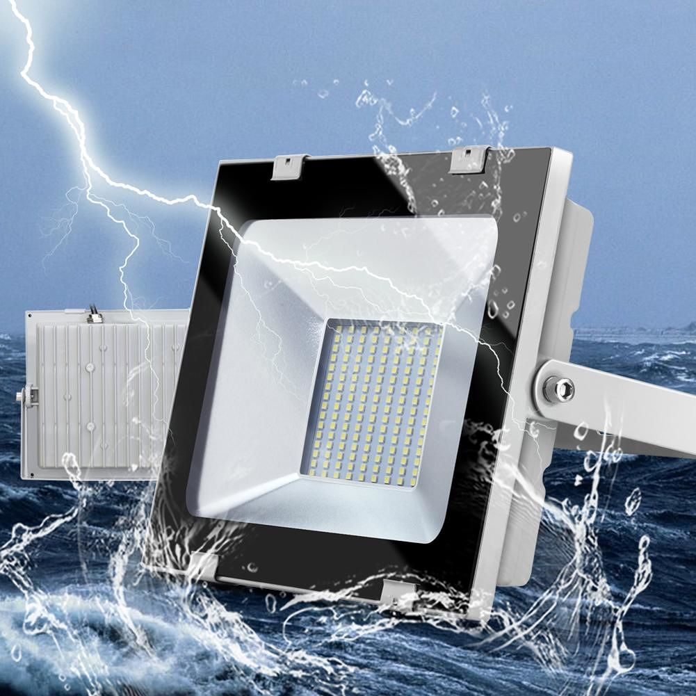 100W 220V IP65 Waterproof Floodlight Ultra-thin Projection Lamp (CW)(X1)