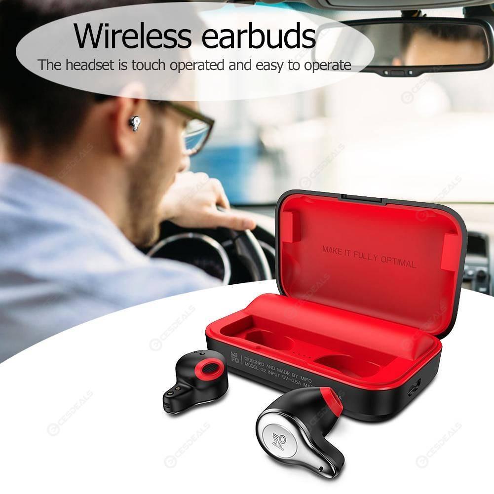 MIFO O2 Touch Bluetooth 5 0 Wireless Handsfree Charging Earphones (Black)