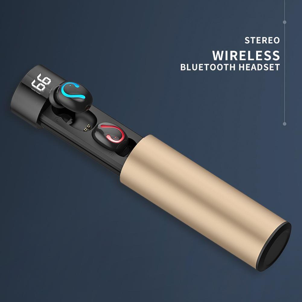 TWS Bluetooth Wireless Mini Earphone Stereo w/Mic Charging Box (Champagne)