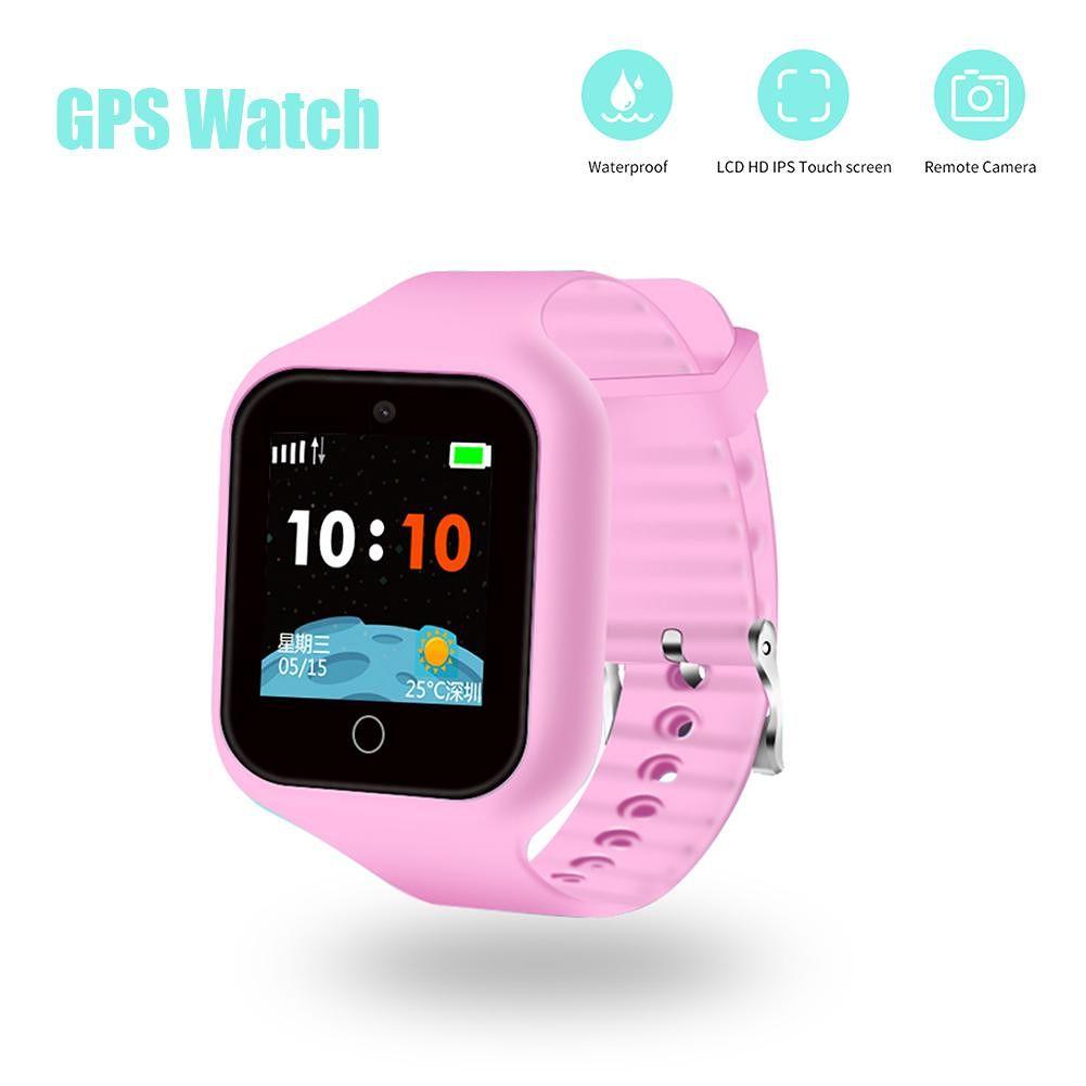 Children Smart Watch Phone IP67 Waterproof GPS SOS Call Smartwatch (Pink)