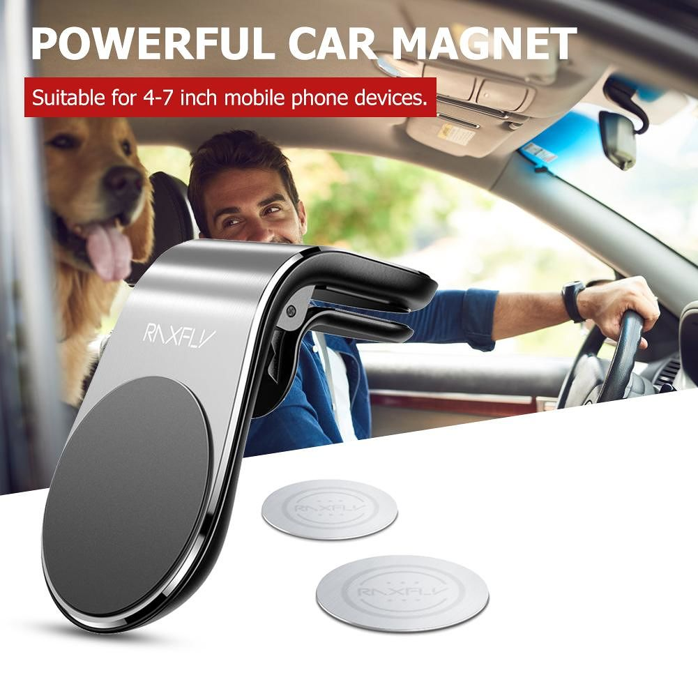 RAXFLY Magnetic Car Phone Holder L-Type Air Vent Rack for 4-7 inch (Silver)