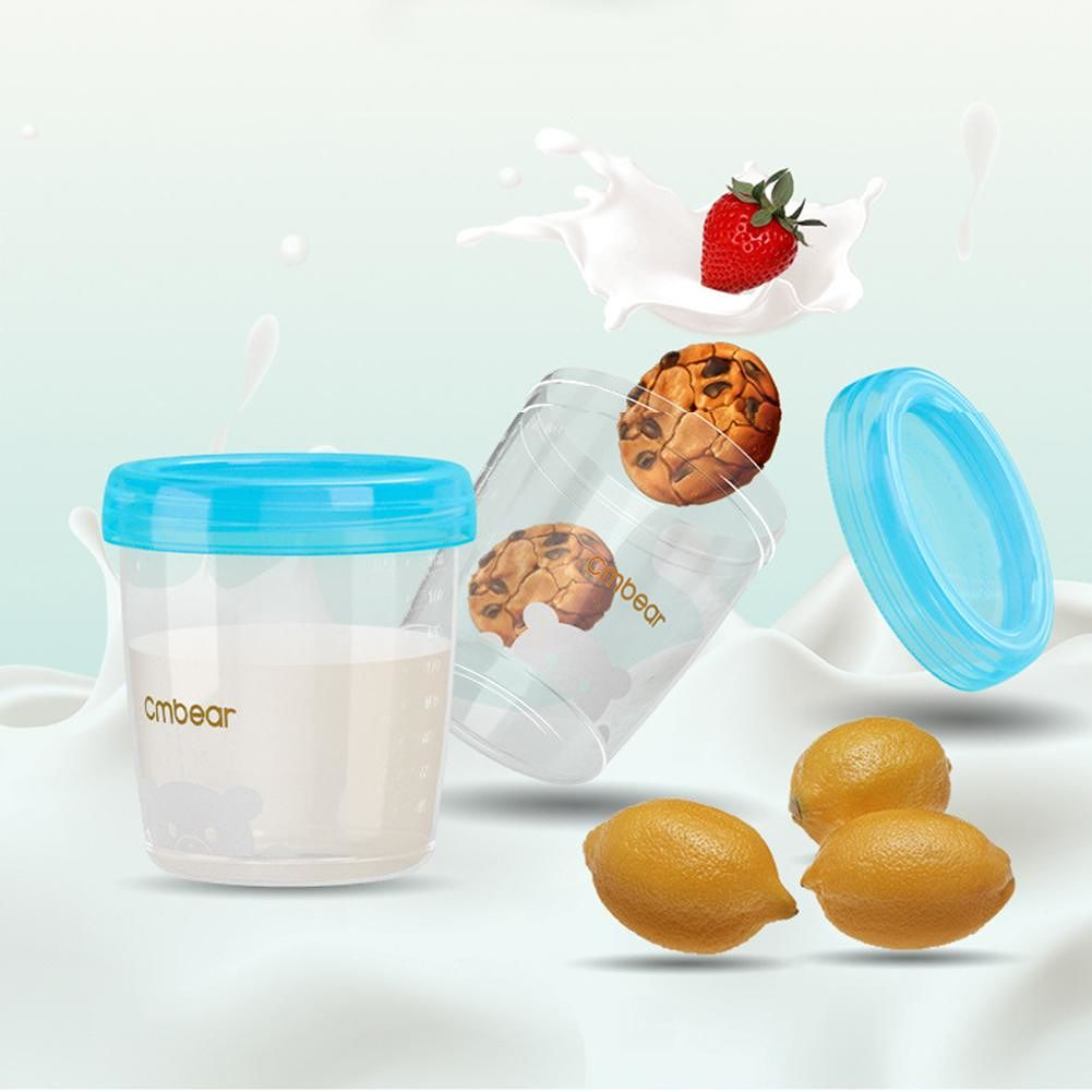 4pcs Safety Baby Breast Milk Storage BPA Free PP Cup Newborn Food Container