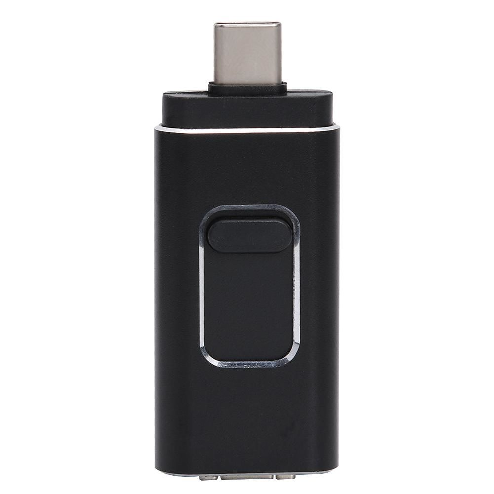 Mini 4 in 1 Type C Push-pull USB Flash Drive 64GB for iOS Android (Black)