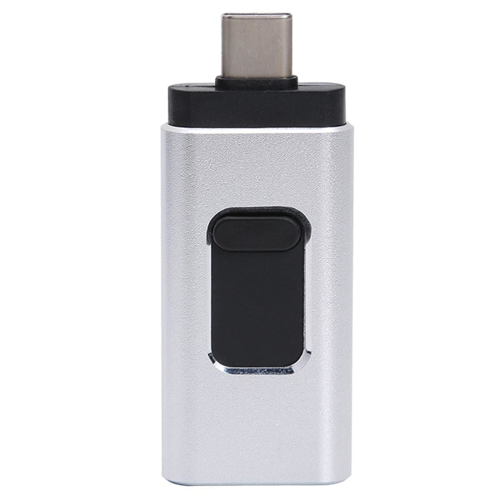 Mini 4 in 1 Type C Push-pull USB Flash Drive 64GB for iOS Android (Silver)