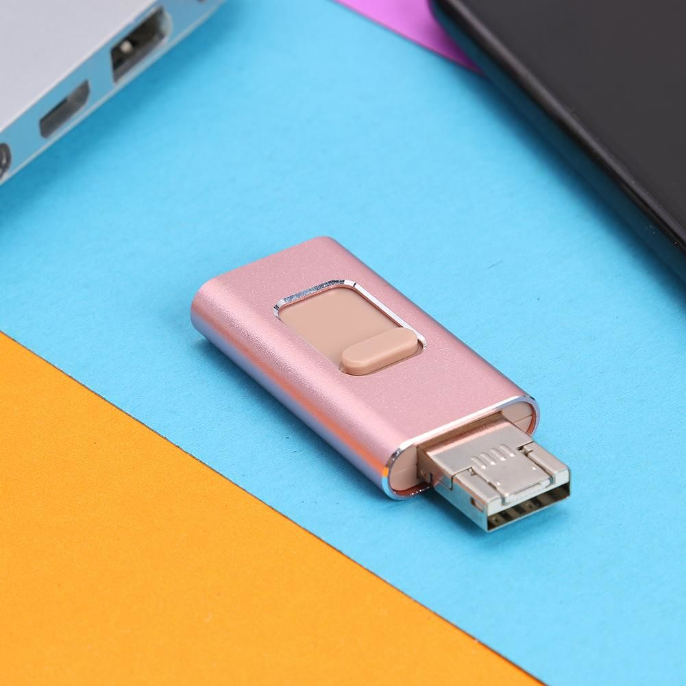 4 in 1 Multi-function Type C USB Flash Drive 128GB OTG Pendrive (Rose Gold)