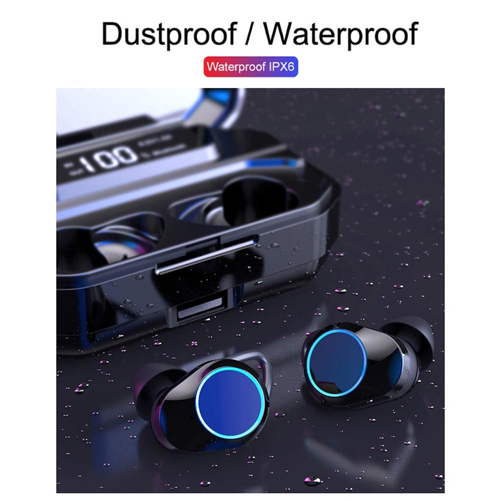 TWS-G02 LED Display Binaural Smart Bluetooth 5.0 Wireless Handsfree Headset