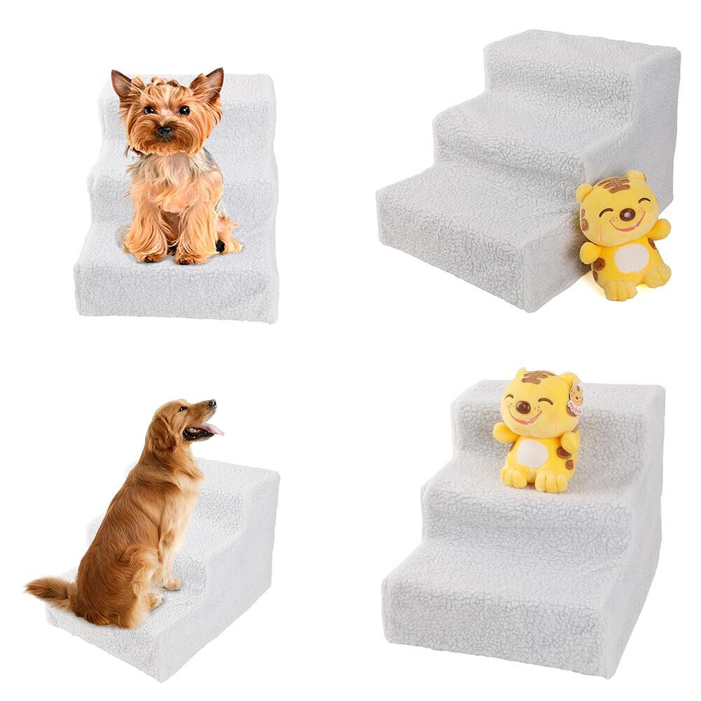 House White Soft Portable Cat Dog 3 Steps Ramp Small Climb Pet Step Stairs