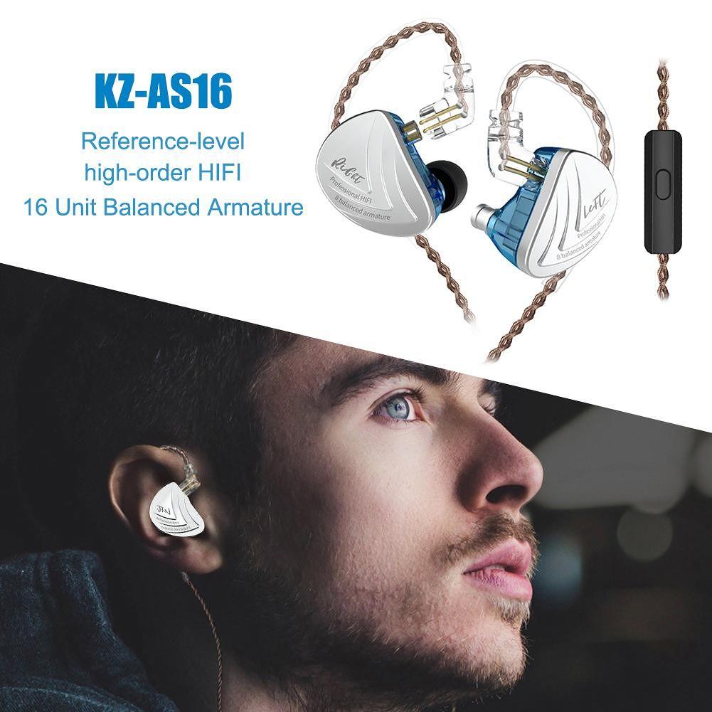KZ AS16 16BA Earphone Balanced Armature Monitor HiFi Earbuds (w/Mic)(Blue)