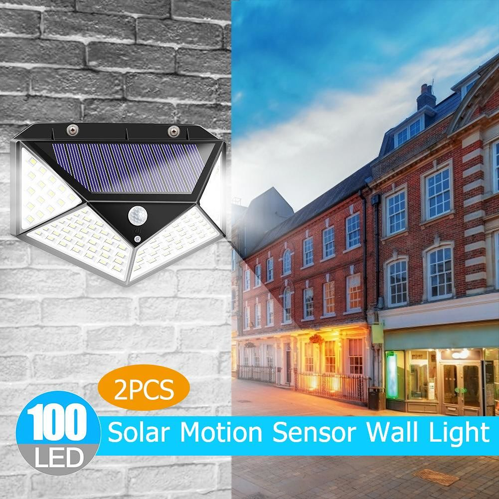 2pcs 100LED Solar Motion Sensor Wall Light Waterproof Garden Security Lamp