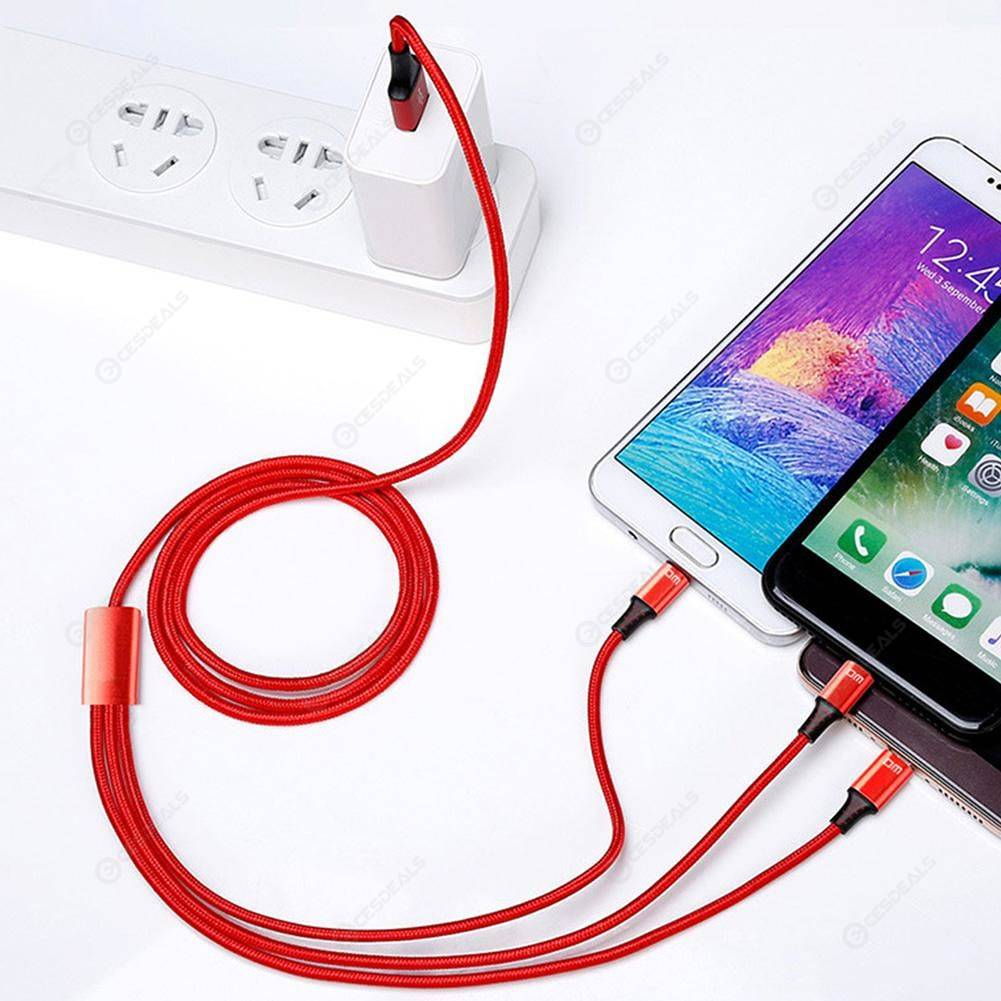 DM SL004 3 in 1 USB Cable Charging Data Cord for Apple/Micro/Type-C Phones