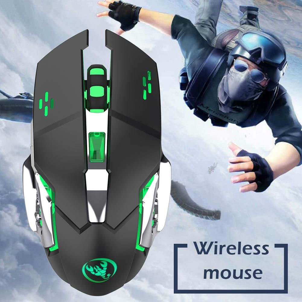 HXSJ M70GY 2.4G Wireless 6 Keys 2400DPI USB Charging Gaming Mouse (Black)
