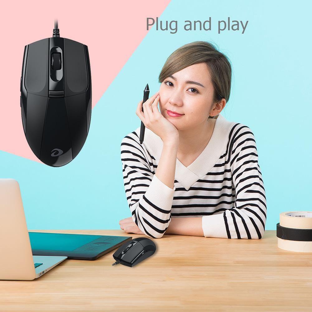 DAREU LM102 6 Keys 1200DPI Adjustable Ergonomic Laptop PC USB Wired Mouse