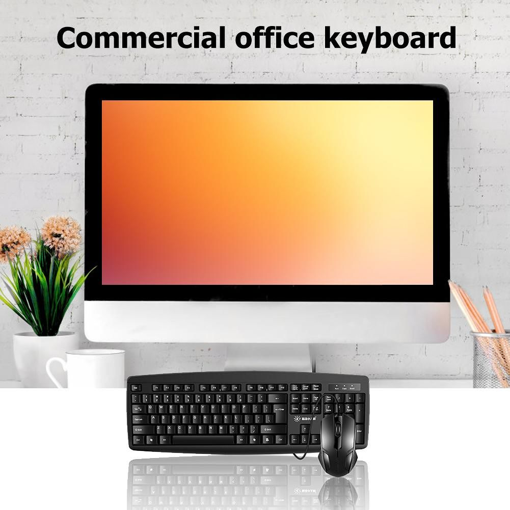 SUNROSE Keyboard and Mouse Combos Set USB Wired Games Office for Notebook
