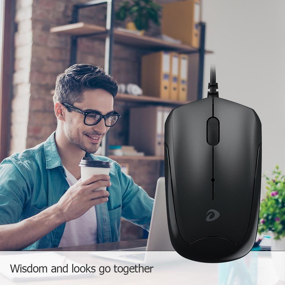 DAREU LM100 3 Keys USB Wired 1000DPI Symmetrical Ergonomic Optical Mouse