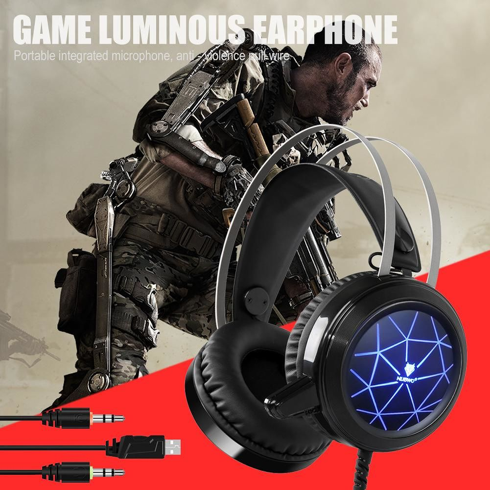 NUBWO N1 Gaming Headsets Stereo Wired Headphone with LED Light Mic (Black)