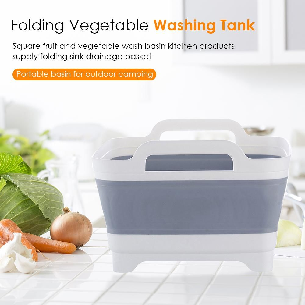 Folding Sink Drain Basket Travel Outdoor Camping Fruit Vegetable Wash Basin