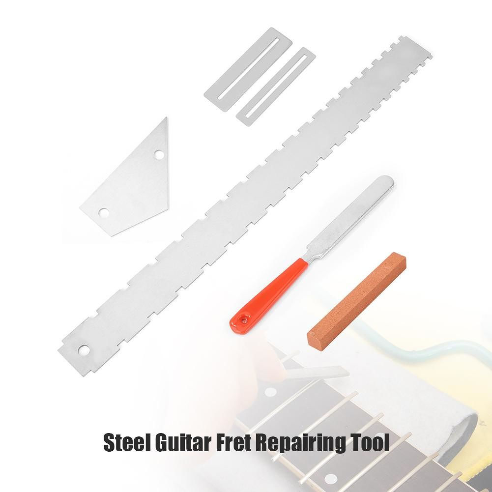 Steel Guitar Fret Repairing Tool Set Silver Cleaning Polish File Protector