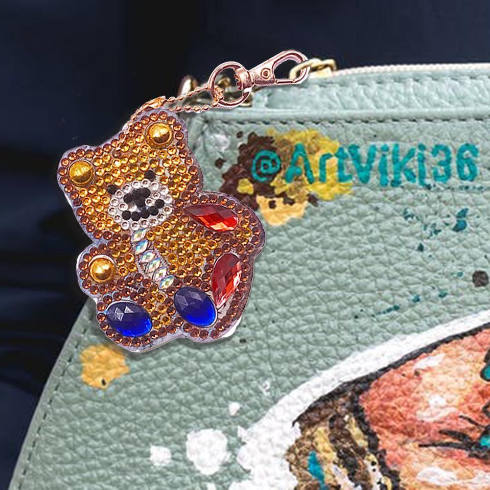 4pcs DIY Full Drill Special Shaped Diamond Painting Bear Keychain Pendants