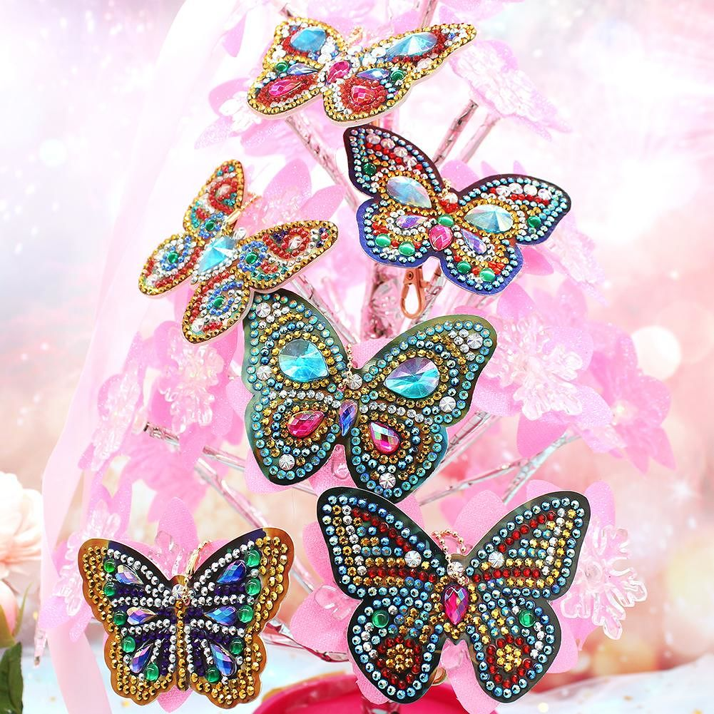 6pcs DIY Butterfly Full Drill Special Shaped Diamond Painting Keychain Gift